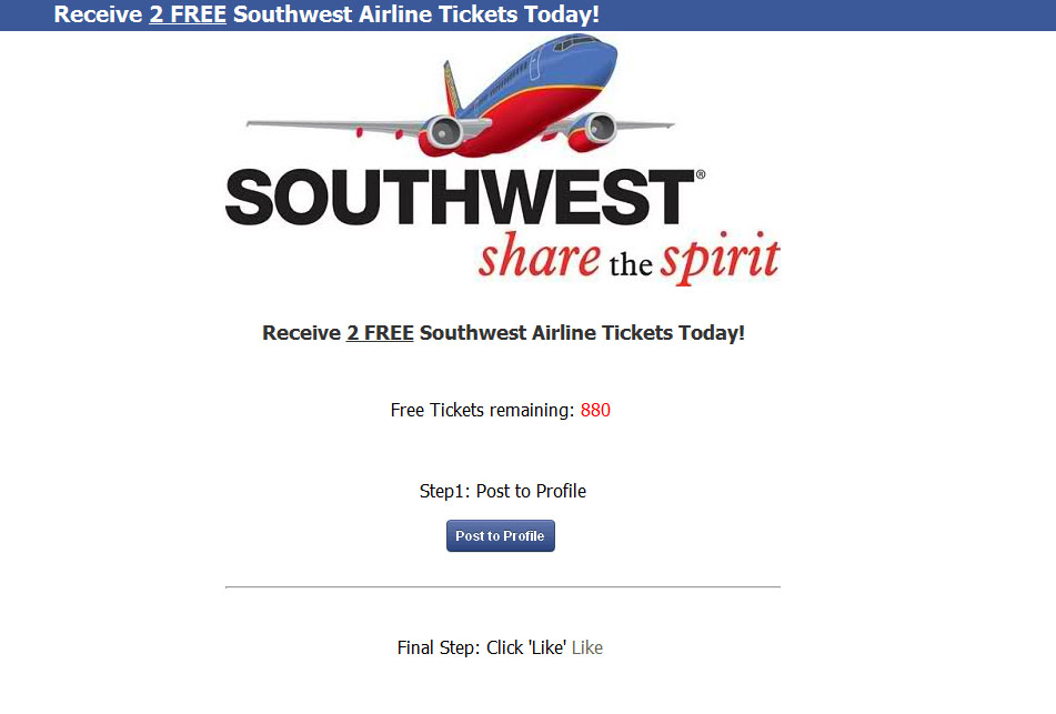 southwest-FB-scam