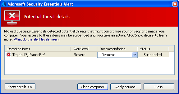 Trojan-microsoft-security-essentials-alert