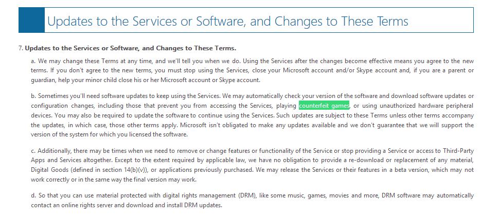 Microsoft Windows 10-eula-Fälschungs-Spiele
