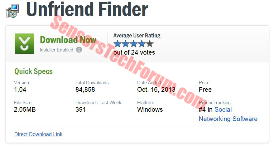 How to install/uninstall unfriend finder for facebook (google.