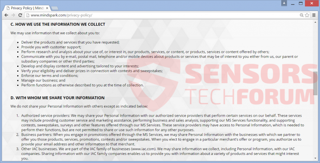 SensorsTechForum-testinetspeed-myway-test-internet-speed-privacy-policy