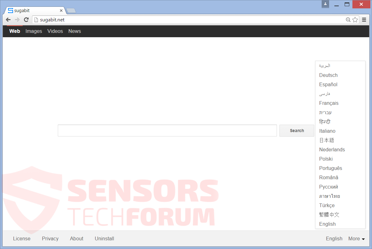 SensorsTechForum-sugabit-net-browser-hijacker-main-home-page-search