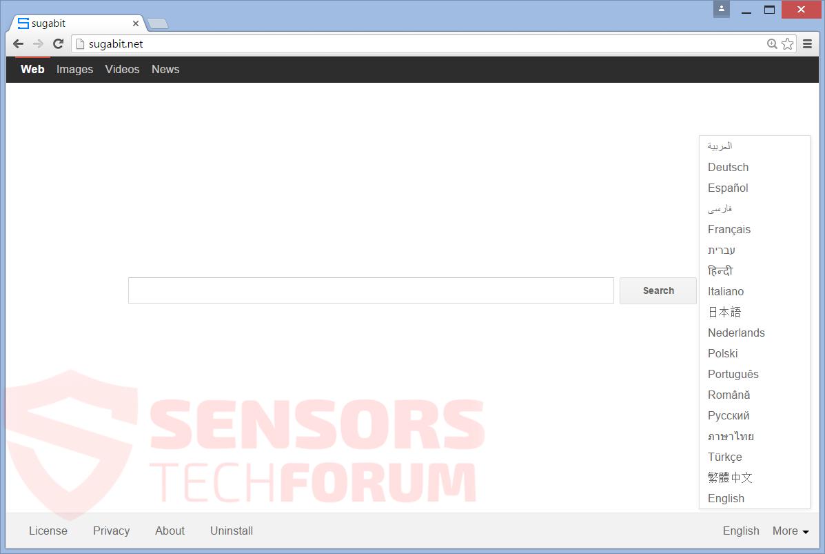SensorsTechForum-sugabit-net-browser-hijacker-main-home-page-search