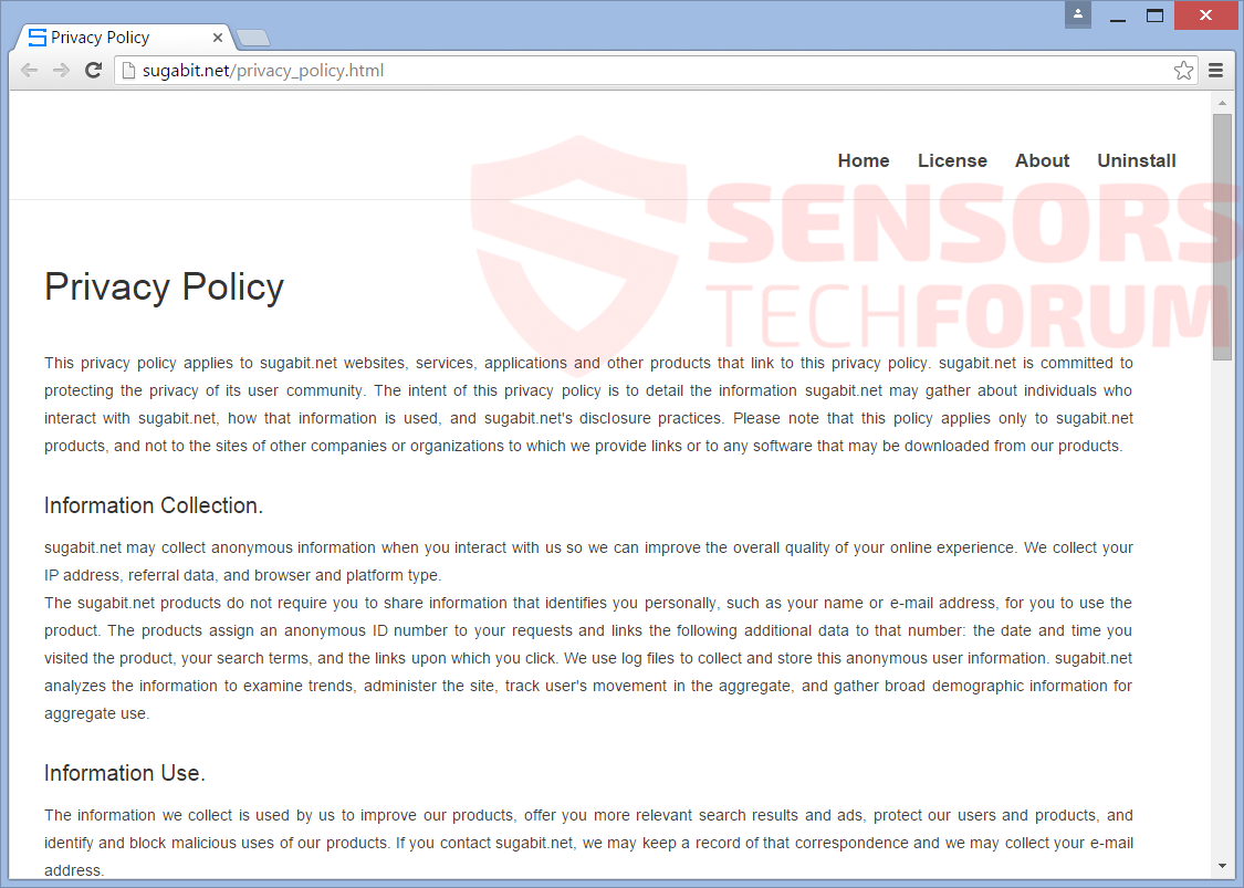 SensorsTechForum-sugabit-net-browser-hijacker-privacy policy