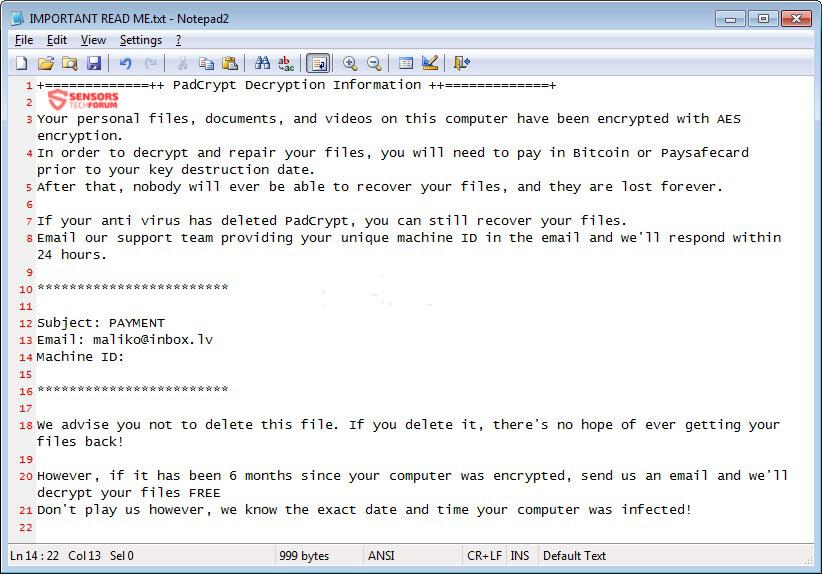 IMPORTANT-READ-ME-padcrypt-ransomware-stforum