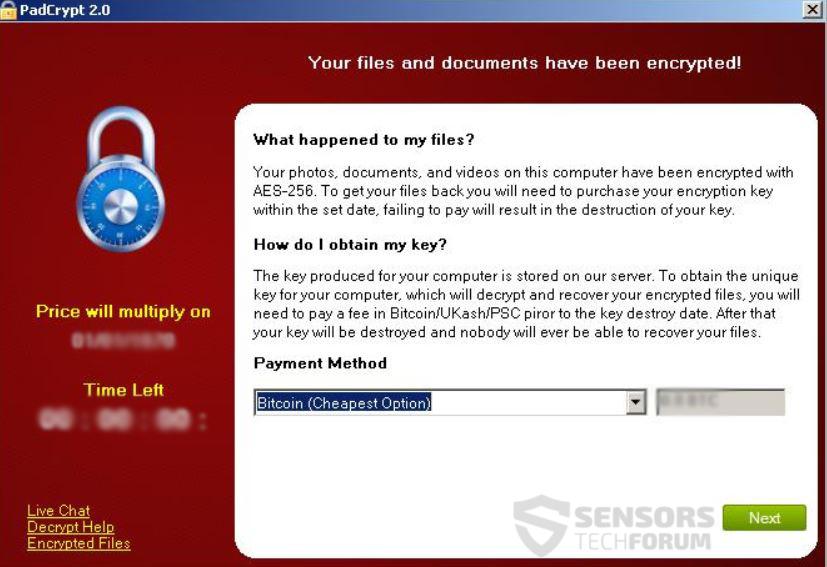 PadCrypt-ransom-message-sensorstechforum