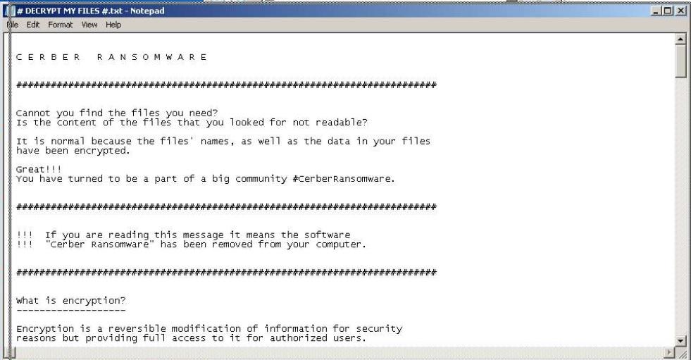 # DECRYPTER MES FICHIERS # txt rançon Note cerber ransomware