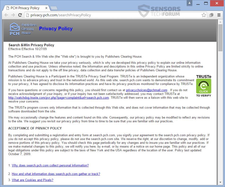 SensorsTechForum-pch-search-and-win-search-pch-com-privacy-policy