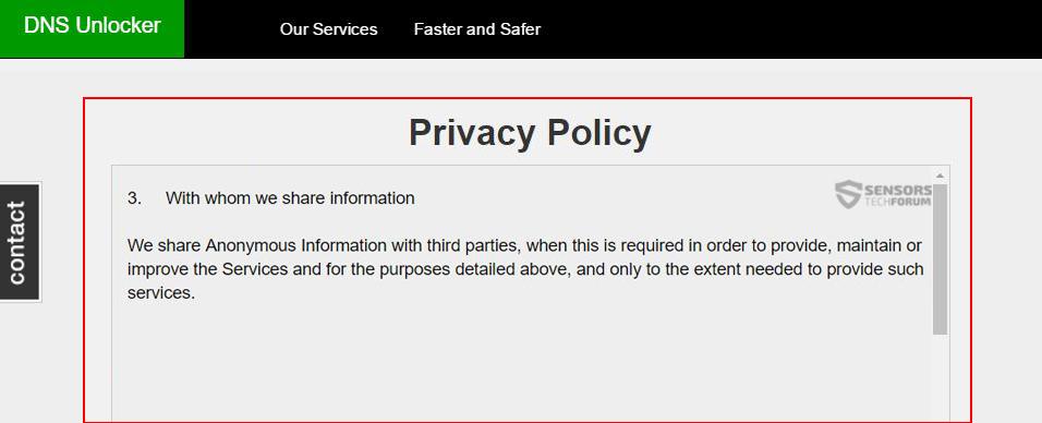 DNS-Unlocker-vie privée politique sensorstechforum