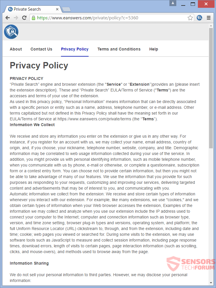 STF-private-search-eanswers-browser-hijacker-privacy-policy