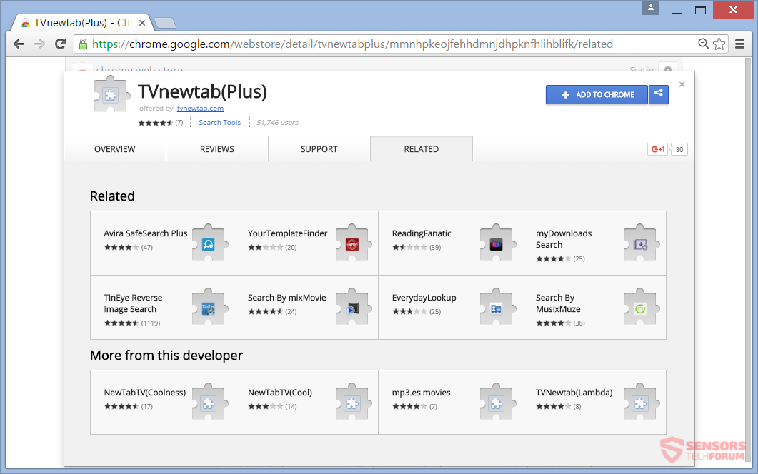 STF-tvnewtab-tv-new-tab-search-chrome-web-store-extension-page