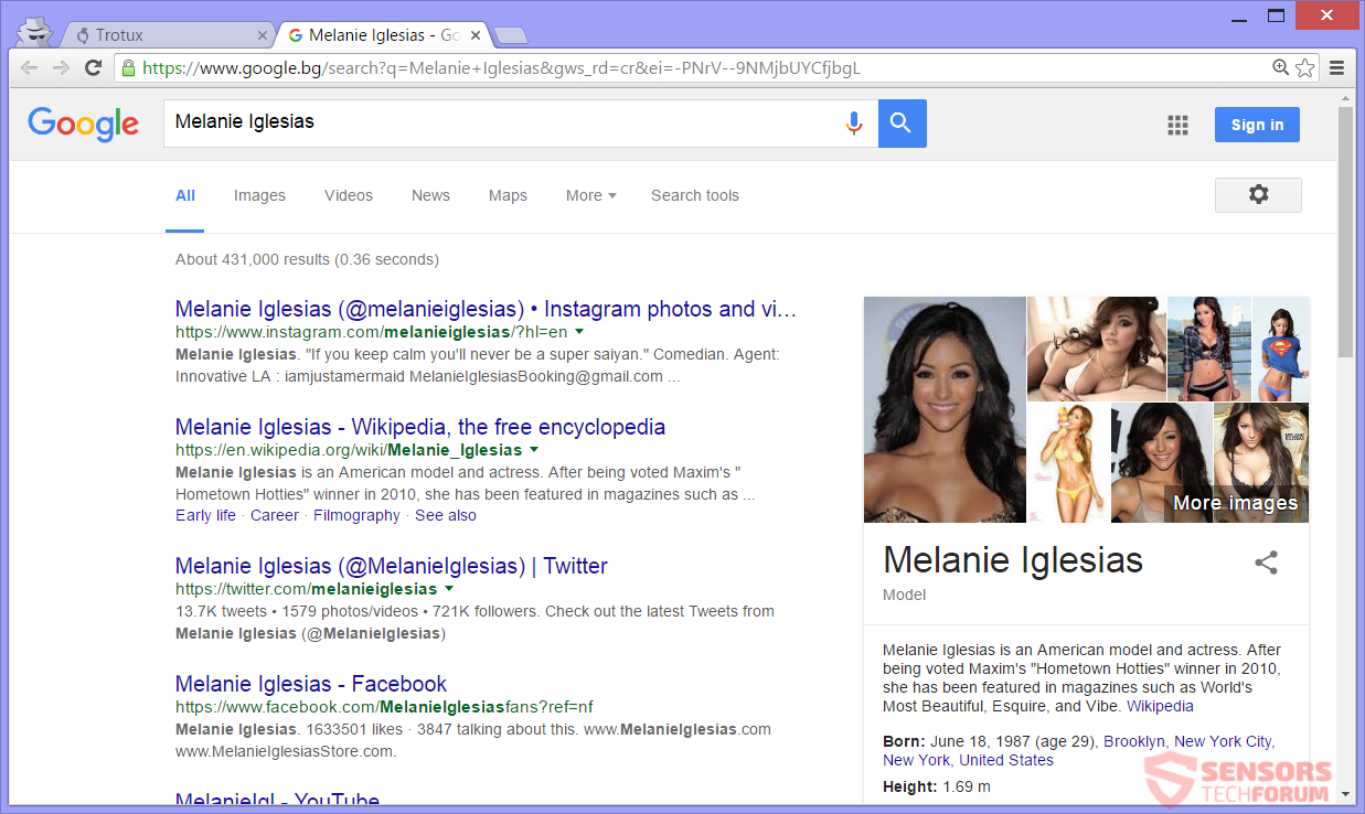 SensorsTech-Forum-trotux-com-browser-hijacker-melanie-igleasias-google-search-results