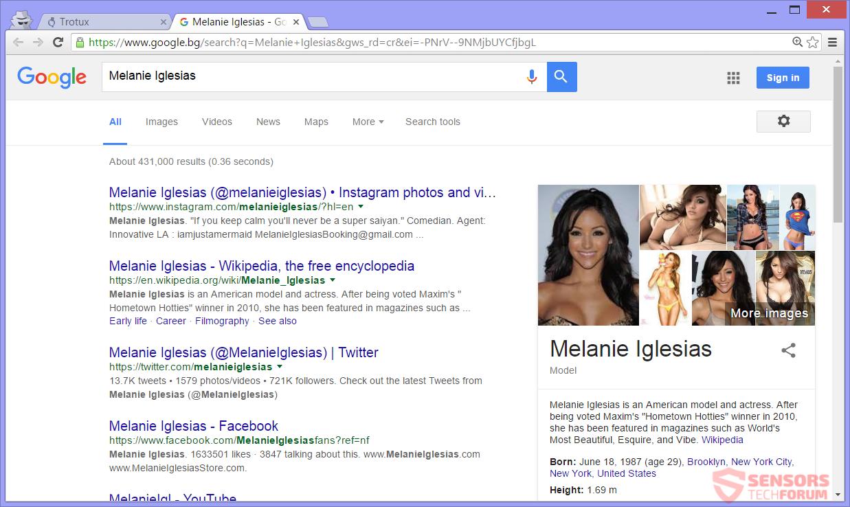 SensorsTech-Forum-trotux-com-Browser-Hijacker-melanie-igleasias-google-Suche-Ergebnisse