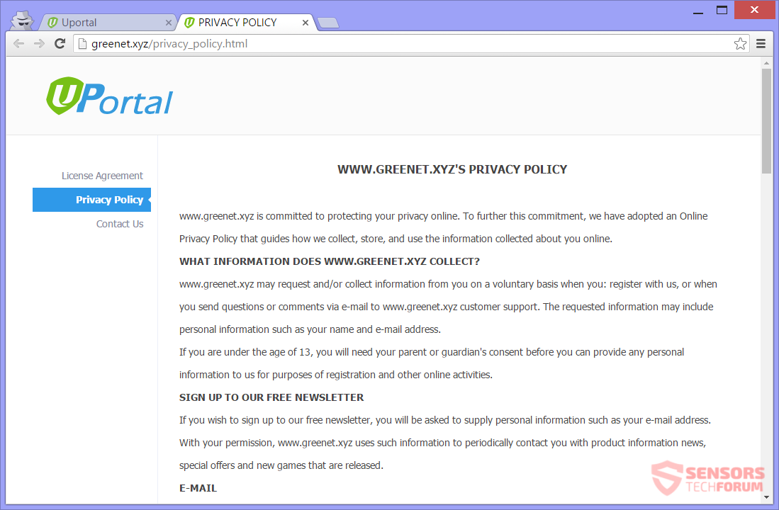 SensorsTechForum-uportal-xyz-u-portal-hijacker-privacy-policy