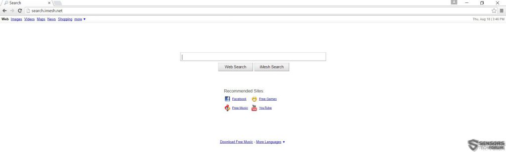 search-imesh-net-sensorstechforum-main-page-hijacker