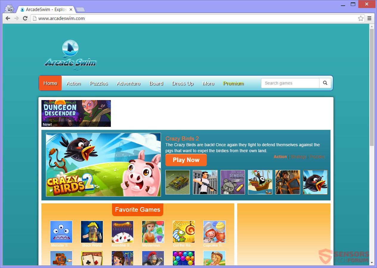 stf-arcadeswim-arcade-swim-adware-main-site-page