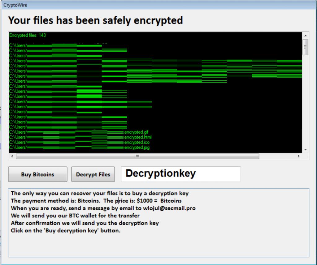 CryptoWire Ransomware Bild