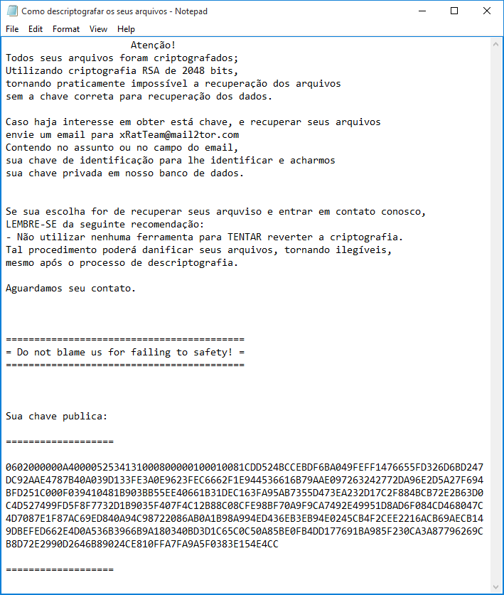 stf-xpan-ransomware-teamxrat-xrat-brazillian-virus-ransom-message-instructions