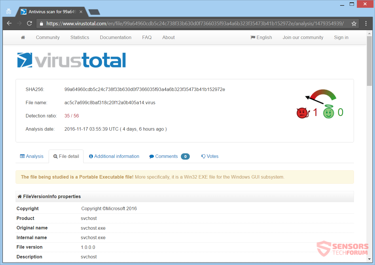 stf-donald-j-trump-ransomware-virus-new-variant-infection-distribution-detections-on-virustotal-svchost
