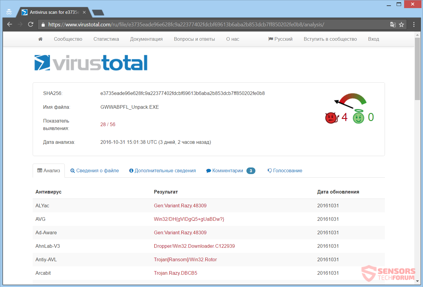 stf-rotorcrypt-ransomware-rotor-elizabeth7-protonmail-com-likbez77777-gmail-com-virus-total-analysis-exe-detections