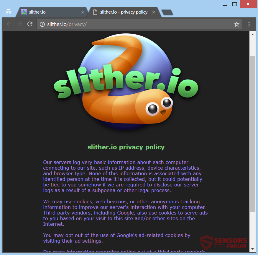 stf-slither-io-slithermon-adware-ads-privacy-policy