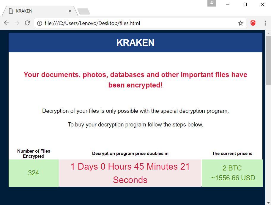 Kraken Virus – Remove and Restore  kraken Encrypted Files
