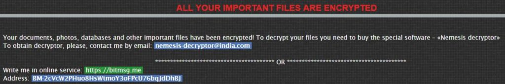 Remove Nemesis Ransomware and Restore Encrypted Files (2018)