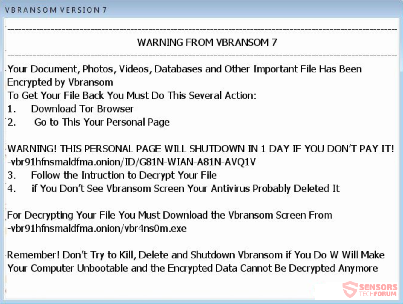 Remove VBRANSOM Ransomware and Restore .VBRANSOM Files