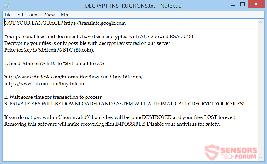 Vanguard ransomware remove and restore your files the note is written in english and gives details about the demands for payment it is put inside a file called decryptinstructionstxt that you can preview ccuart Image collections