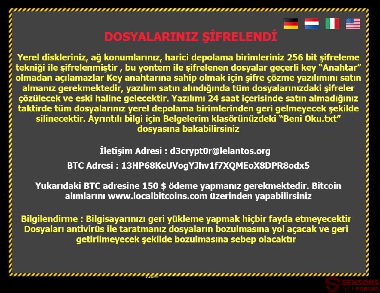 Beni Oku txt Turkish Virus – Remove and Restore  encrypted Files
