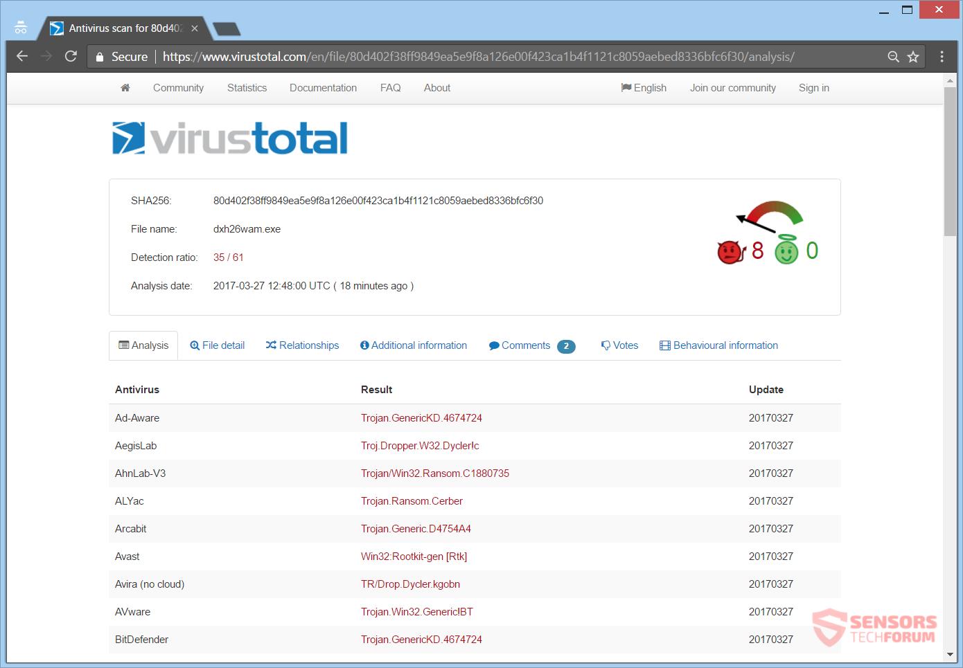 Dxh26wam ransomware - quitarlo y restaurar archivos .crypted