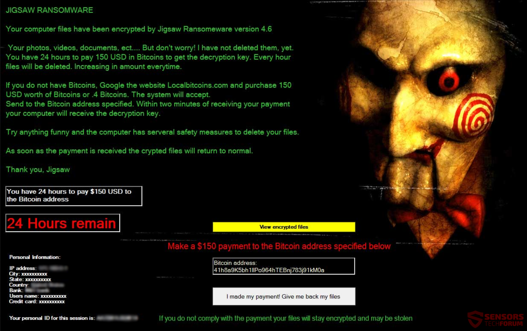 Jigsaw Ransomware 4.6 \u2013 Remove and Restore Your Data