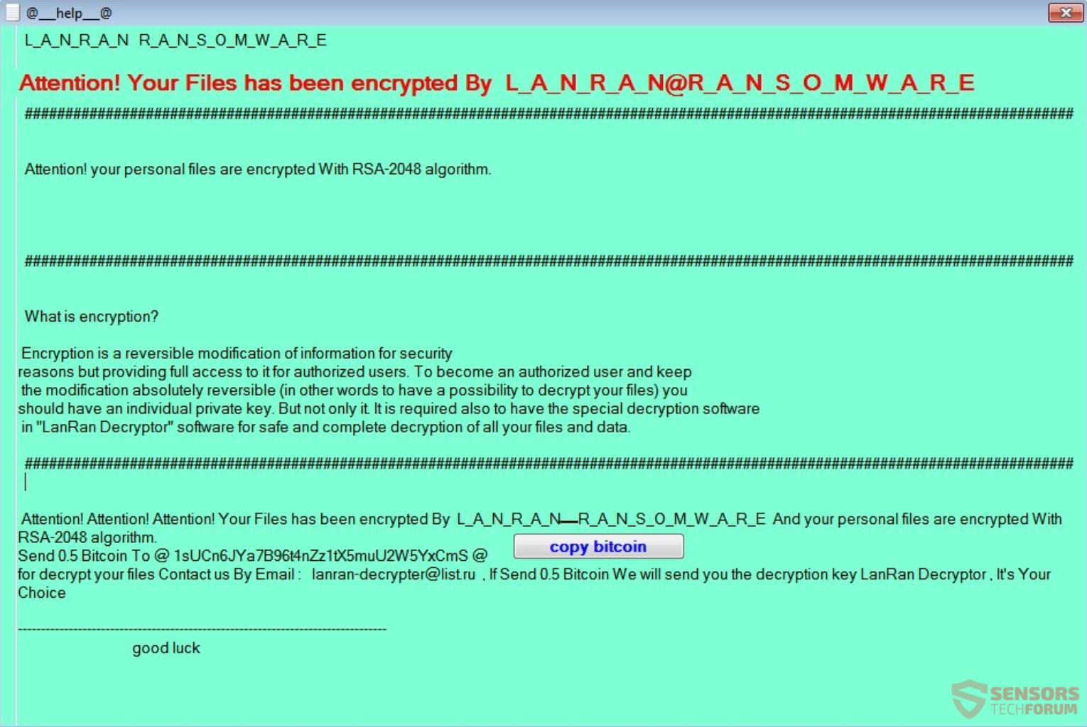 LanRan Ransomware \u2013 Remove It and Restore Your Files