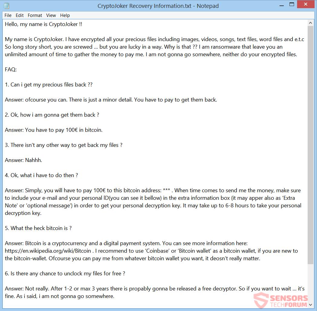 Remove CryptoJoker Ransomware  Recover  cryptojoker Files