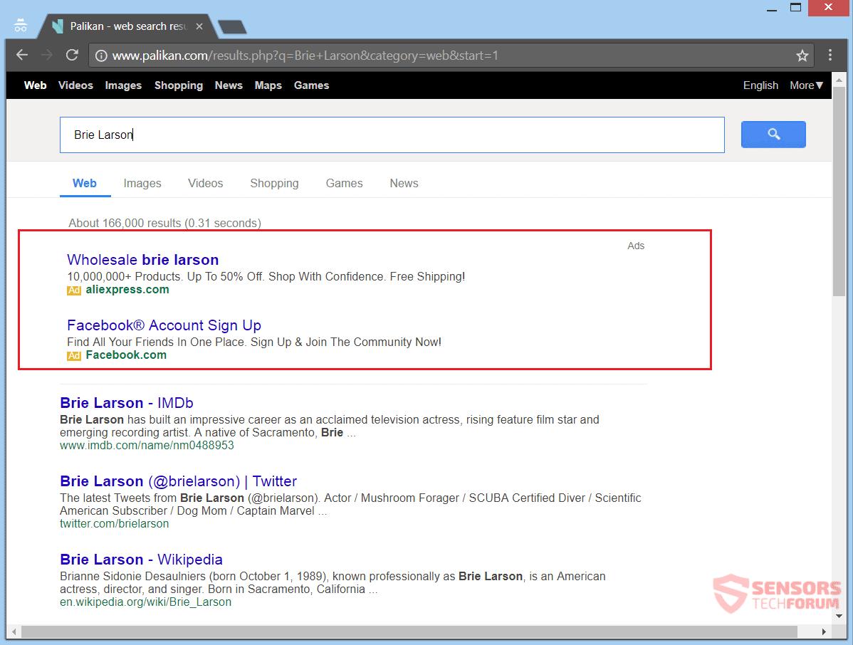 La eliminación Palikan.com redirección