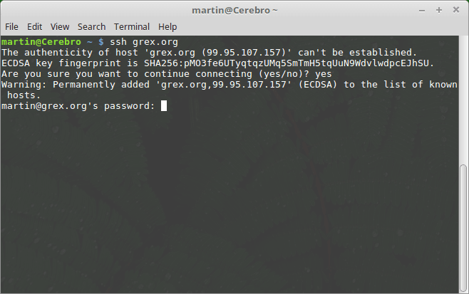 Accessing a SSH server on Linux