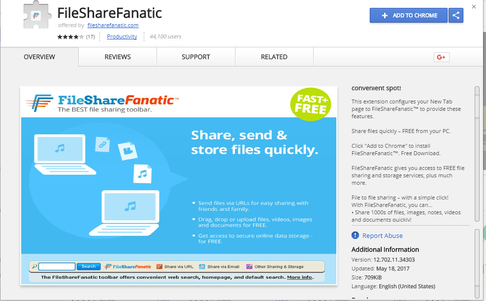 FileShareFanatic site image Google Chrome browser hijacker image