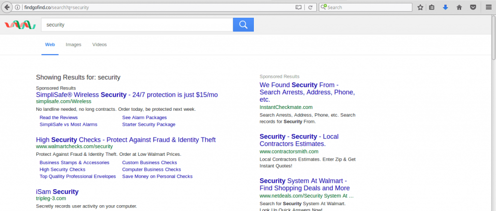 Findgofind.com home page search results