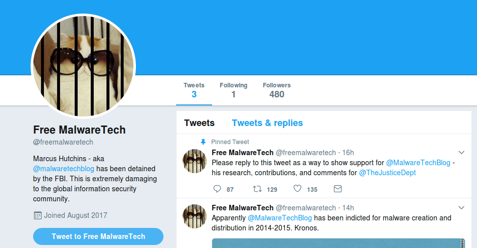 MalwareTech gratuit Twitter profil image campagne