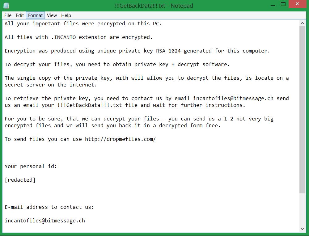!!!GetBackData!!!.txt ransom note .INCANTO virus ransomware sensrstechforum