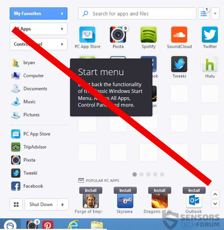 how to delete a program from start menu
