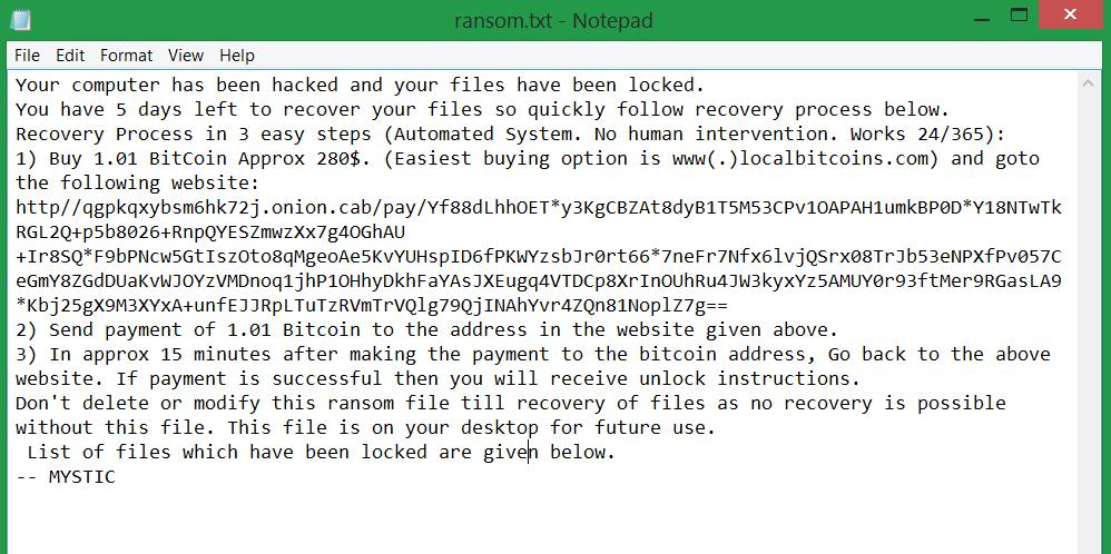 ransom.txt Mystic rasnomware ransom note sensorstechforum