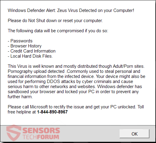 "Remove ""ZEUS VIRUS DETECTED"" Scam (Update May 2019)"