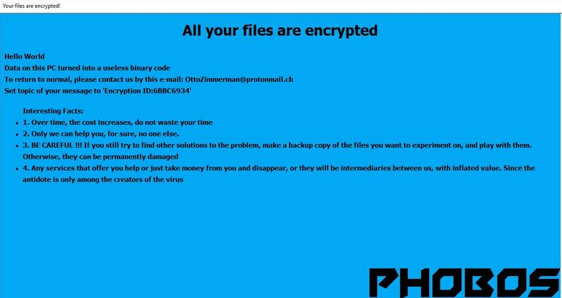 PHOBOS Ransomware - Remove + How to Restore  PHOBOS Files