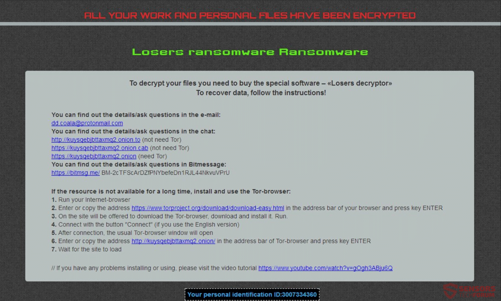 Retire los perdedores ransomware - Restaurar archivos .Losers ...