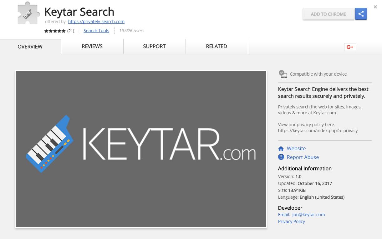 keytar.com estensione per il browser Google Chrome negozio