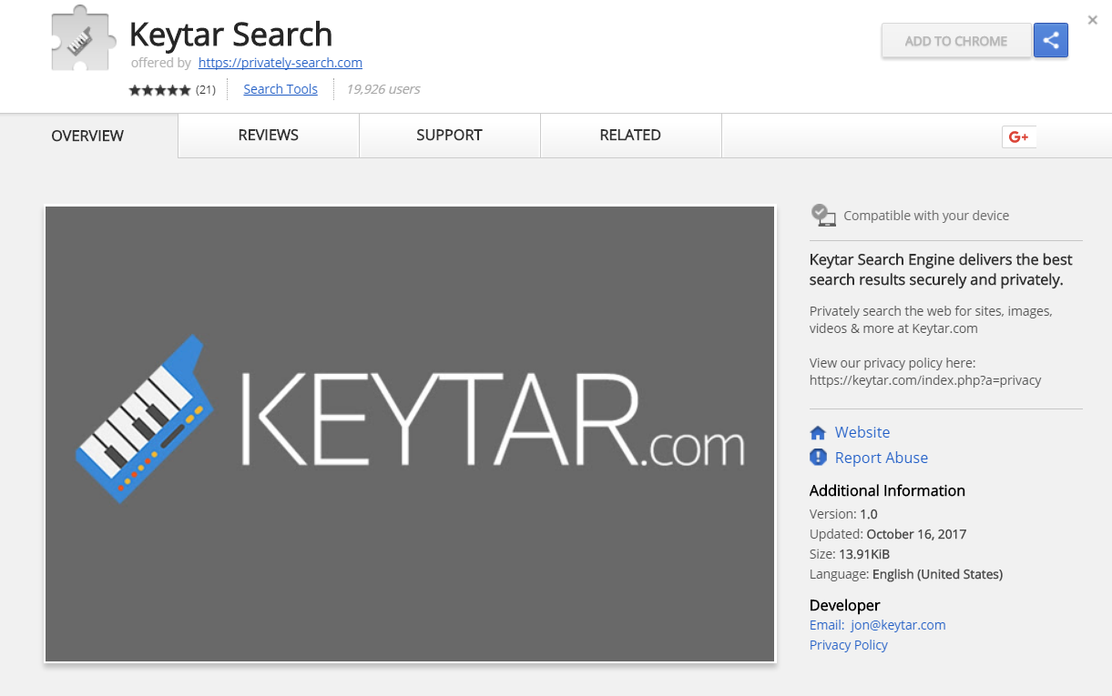 keytar.com browser extensie google chrome winkel
