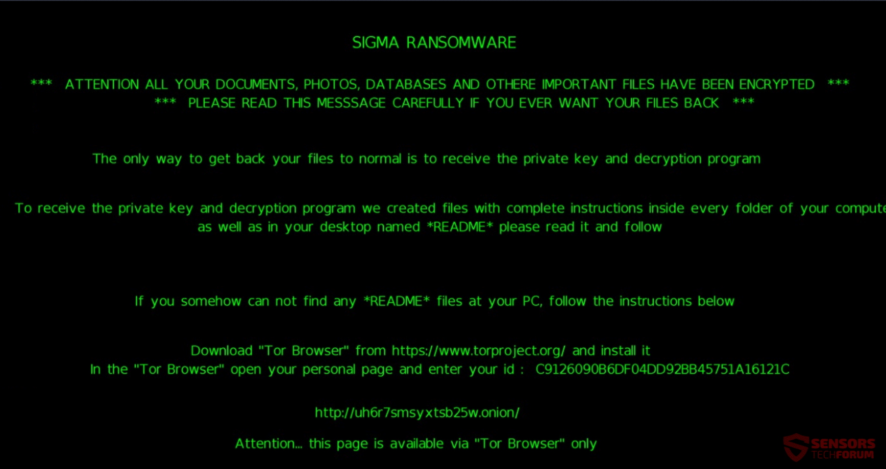 Retire Sigma ransomware - Restaurar archivos