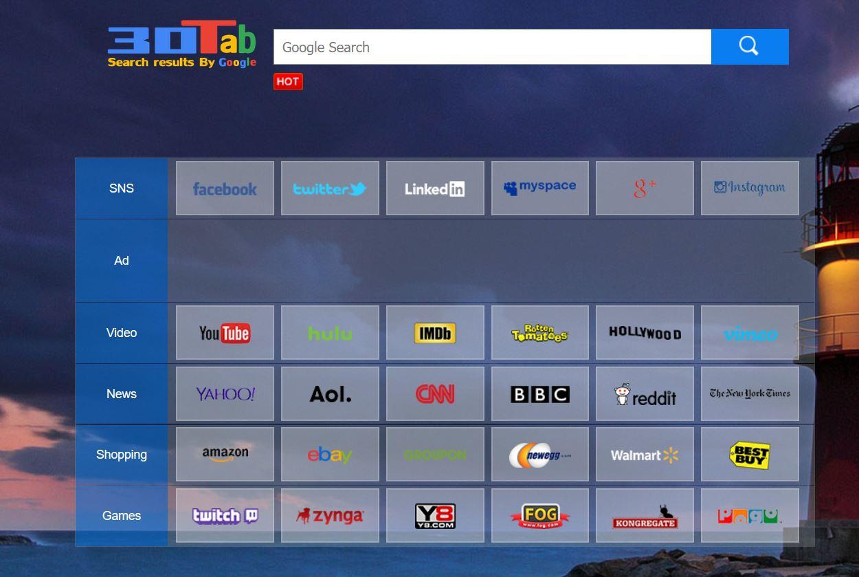 """30Tab.com redirección de búsqueda """"Virus"""" - cómo eliminarla"""