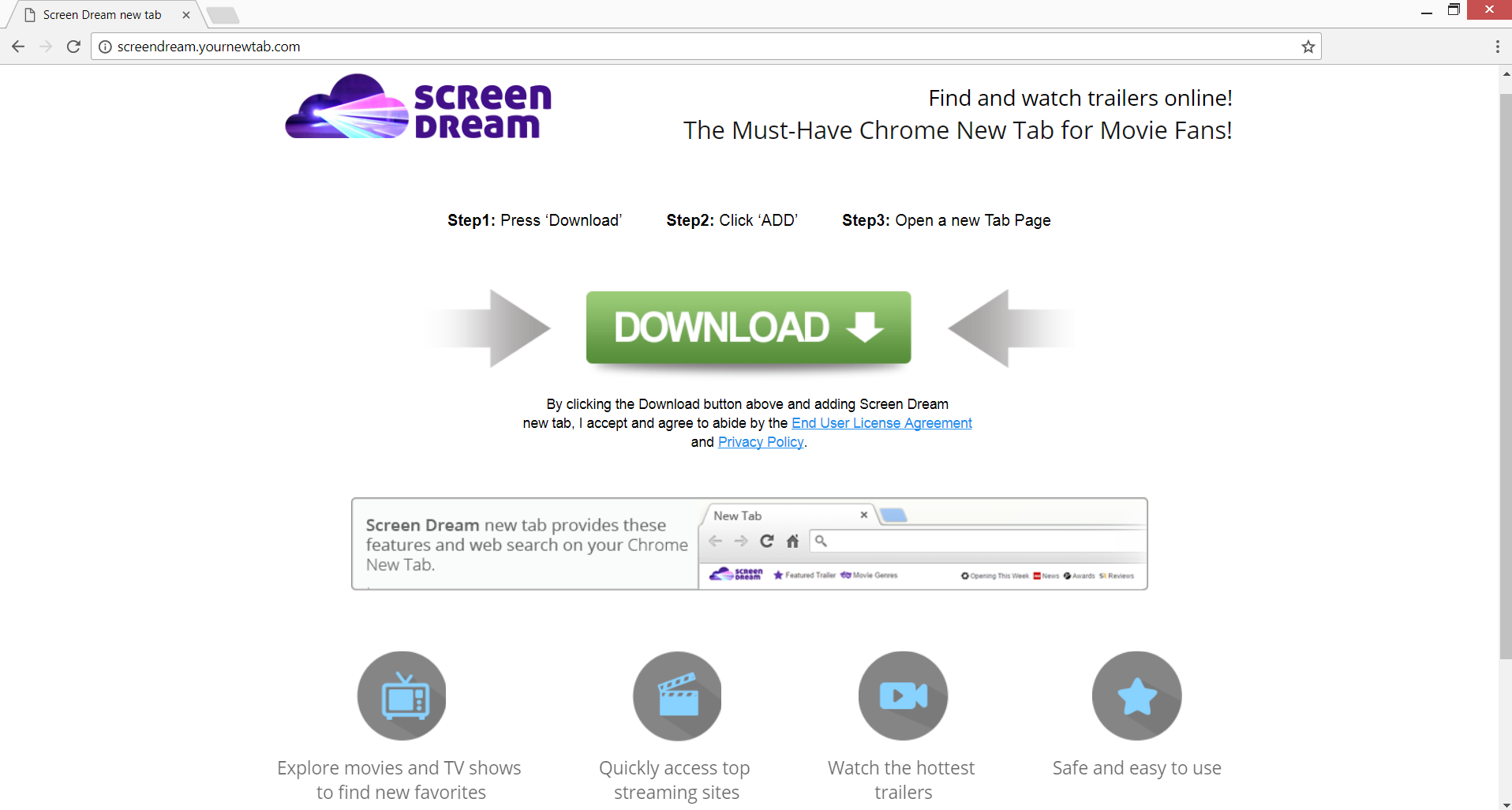 Screendream.yournewtab.com redirect homepage stf